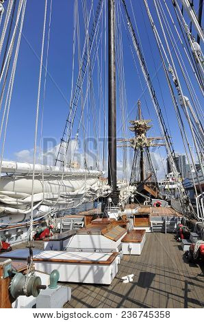Aboard Of An Old Vessell At San Diego Harbour