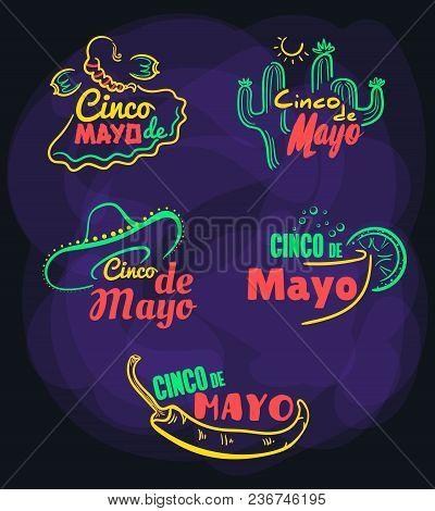 Cinco De Mayo. Set Of Bright Festive Symbolic Badges On Dark Background. Vector Illustration
