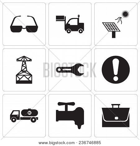 Set Of 9 Simple Editable Icons Such As Bag, Crane, Tipper, Exclamation, Pipe Wrench, Oil Derrick, So