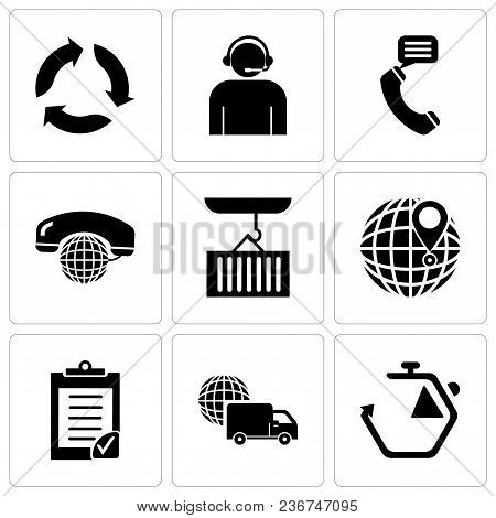 Set Of 9 Simple Editable Icons Such As Chronometer, International Logistics Delivery Truck, Clipboar