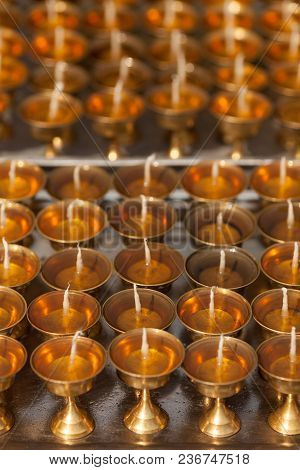 Just Now Prepared Oil Lamps For Fire Donations Waiting When The Oil Used In Them Stiffen. Background