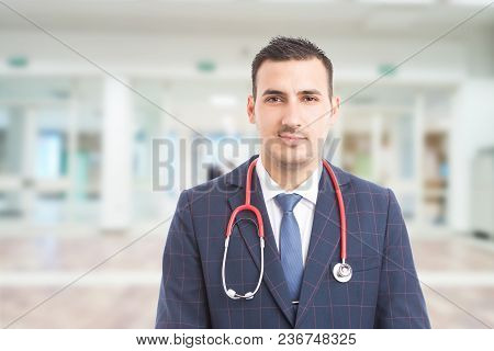 Young Handsome Hospital Manager With Stethoscope.