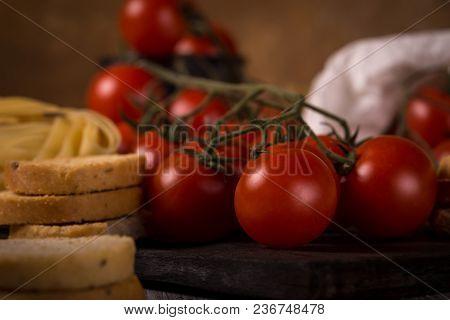 Juicy Fresh Red Tomatoes On Wooden Board Bruschetta