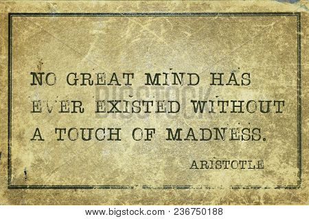 No Great Mind Has Ever Existed Without A Touch Of Madness - Ancient Greek Philosopher Aristotle Quot
