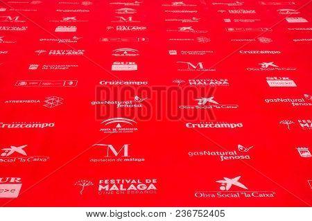 Malaga, Spain - April 17, 2018. Red Carpet Background From Anual Film Festival Cine En Espanol, Mala