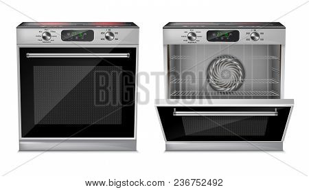 Vector 3d Realistic Compact Oven With Induction Cooktop, With Pre-set Cooking Programs, With Open An