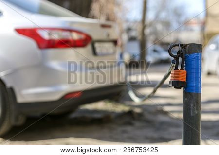 Secure Car Parking With A Tensioned Cable With A Lock