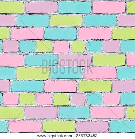 Seamless Texture Of A Brick Wall. Pastel Graffiti. Inaccurate Laying Of Bricks. Bricks Are Painted I