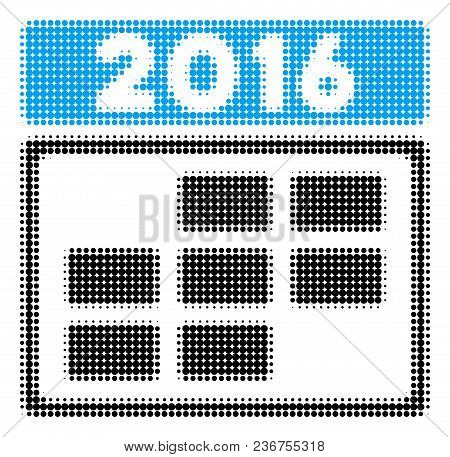 2016 Calendar Grid Halftone Vector Pictogram. Illustration Style Is Dotted Iconic 2016 Calendar Grid