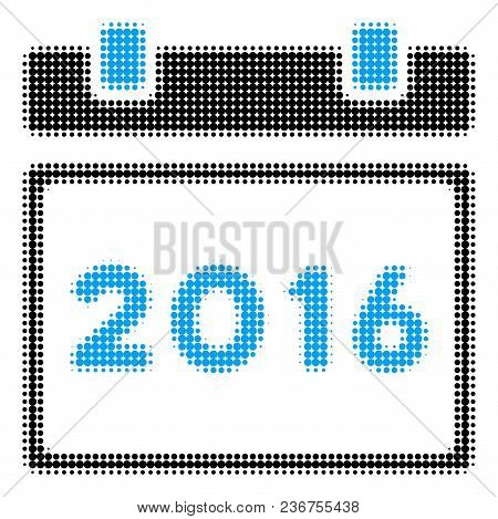 2016 Calendar Halftone Vector Icon. Illustration Style Is Dotted Iconic 2016 Calendar Icon Symbol On