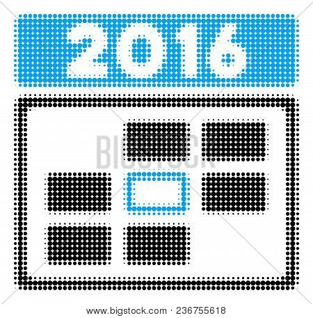 2016 Date Halftone Vector Pictogram. Illustration Style Is Dotted Iconic 2016 Date Icon Symbol On A