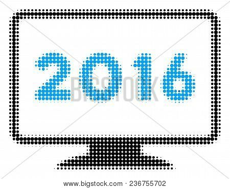 2016 Display Halftone Vector Icon. Illustration Style Is Dotted Iconic 2016 Display Icon Symbol On A