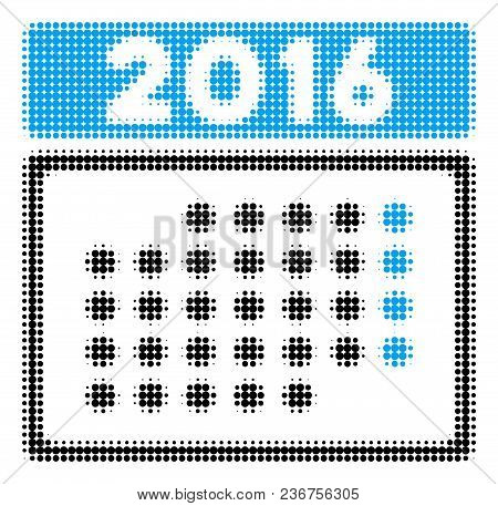 2016 Month Calendar Halftone Vector Icon. Illustration Style Is Dotted Iconic 2016 Month Calendar Ic