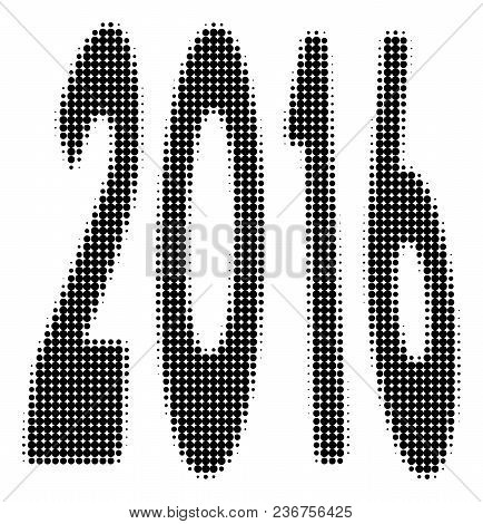 2016 Perspective Halftone Vector Pictogram. Illustration Style Is Dotted Iconic 2016 Perspective Ico