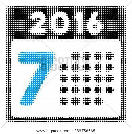 2016 Week Calendar Halftone Vector Icon. Illustration Style Is Dotted Iconic 2016 Week Calendar Icon