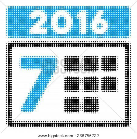 2016 Week Calendar Halftone Vector Pictogram. Illustration Style Is Dotted Iconic 2016 Week Calendar