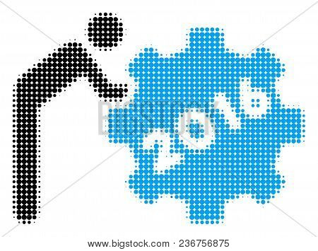 2016 Working Man Halftone Vector Pictogram. Illustration Style Is Dotted Iconic 2016 Working Man Ico