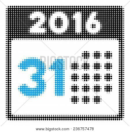 Last 2016 Month Day Halftone Vector Pictogram. Illustration Style Is Dotted Iconic Last 2016 Month D