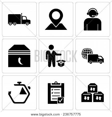 Set Of 9 Simple Editable Icons Such As Three Sto Boxes For Delivery, Verification Of Delivery List C