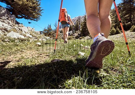Hike To The Mountains On A Complex Rocky Terrain In The Summer.