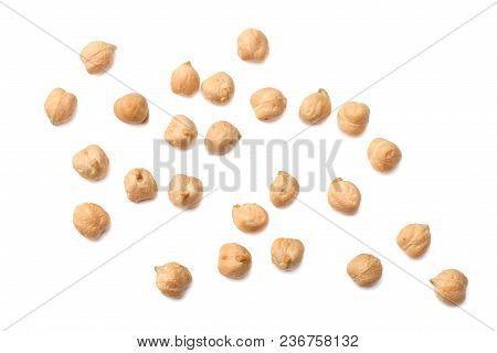 Chickpeas Isolated On White Background. Top View