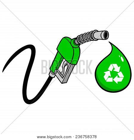 Bio Fuel Pump Price Drop - A Vector Cartoon Illustration Of A Bio Fuel Gas Pump Concept.
