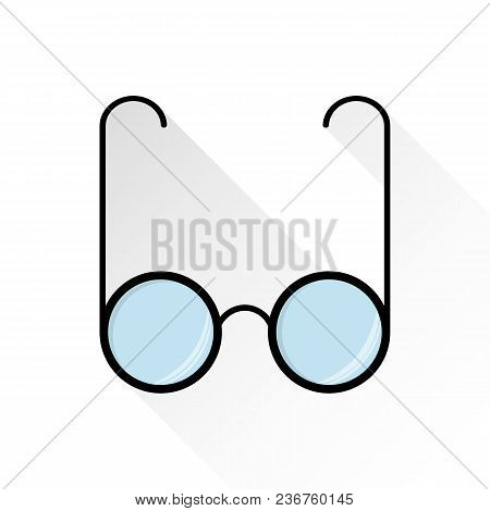 Glasses Icon, Flat Style On White Background With Long Shadow