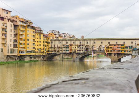 Beautiful Panoramic View Of The Arno River And The Town Of Renaissance. Firenze. Florence. Italy