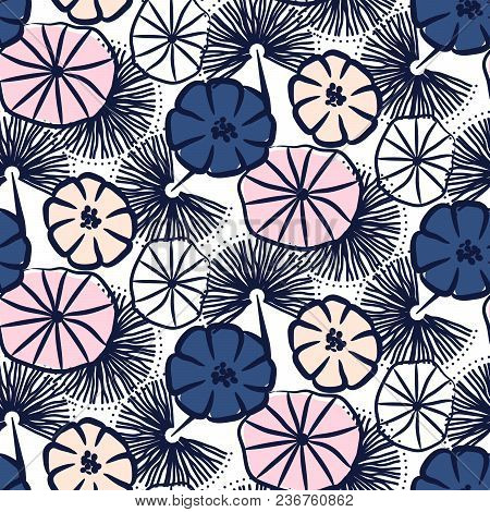 Handdrawn Flower Seamless Vector Pattern. Floral Sketched Repeat Texture Pink And Blue Flowers.