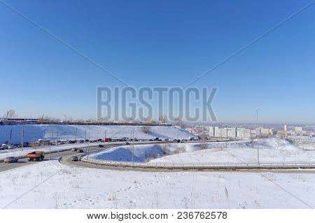 Nizhny Novgorod, Russia. - March 29.2018. View Of The Descent Towards The Oka Bridge . The Photo Is