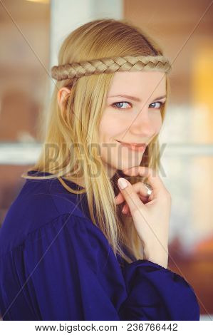 Cute Blonde Woman With Braided Hair Playing, Touching Face Dressed In Blue Dress, Beautiful Portrait