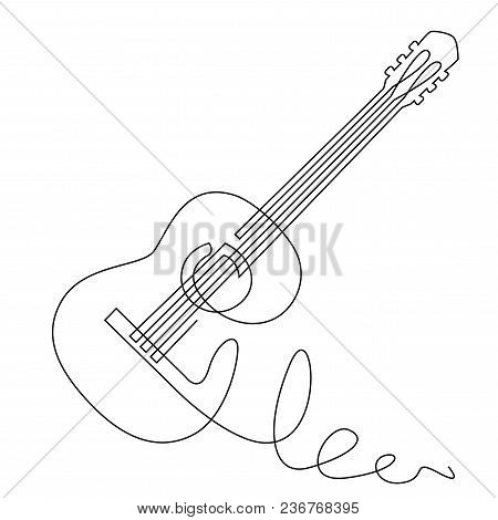 Continuous Line Drawing Of Acoustic Guitar Vector. Musical Instrument Single Line For Decoration, De