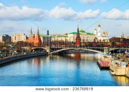 Moscow, Russia. Famous Landmarks Kremlin In Moscow, Russia. Cloudy Sky In The Capital Of Russia. Bri