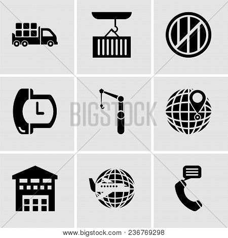 Set Of 9 Simple Editable Icons Such As Talking By Phone Auricular, Airplane Around Earth, Boxes Pile