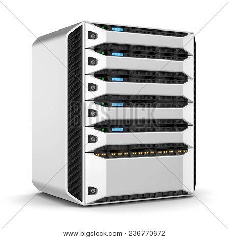 Modern Server Rack Isolated On White Background. 3d Render