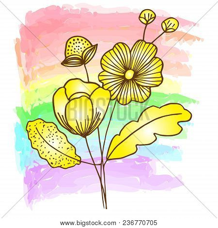 Flower Decoratively Romantically Abstraction Vector Illustration, On Multicolor Pastel Delicate Back