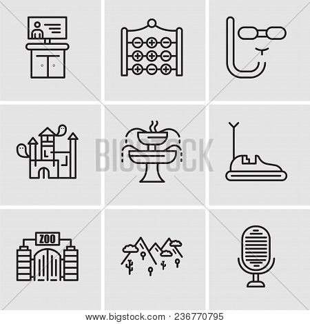 Set Of 9 Simple Editable Icons Such As Microphone, Mountains, Zoo, Bumper Car, Fountain, House, Divi