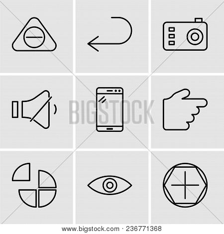 Set Of 9 Simple Editable Icons Such As Add Tool, Eye, Pie Chart, Hand Pointing To Right, Tablet, Vol