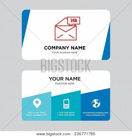 Mail 24 Hours Business Card Design Template, Visiting For Your Company, Modern Creative And Clean Id