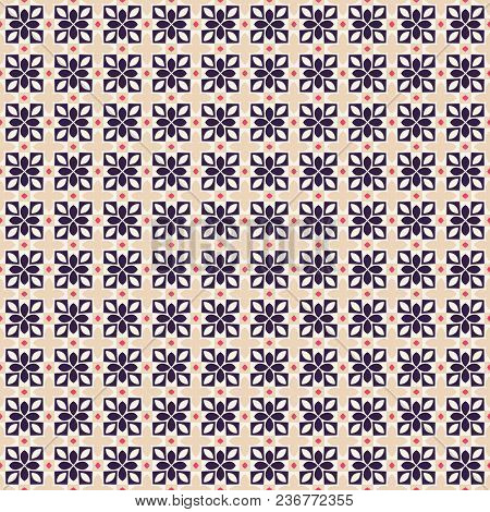 Ancient Geometric Pattern In Repeat. Fabric Print. Seamless Background, Mosaic Ornament, Ethnic Styl