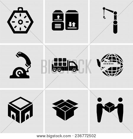 Set Of 9 Simple Editable Icons Such As Delivery Worker Giving A Box To A Receiver, Package For Deliv