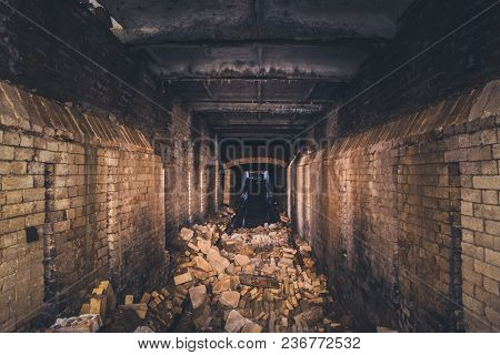 Red Brick Abandoned Underground Sewer Tunnel With Dramatic Mysterious Atmosphere, Inside Sewerage, D