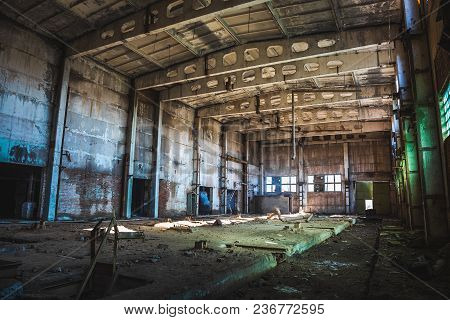 Abandoned Ruined Industrial Factory Building, Corridor View With Perspective, Ruins And Demolition C