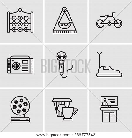 Set Of 9 Simple Editable Icons Such As Tv, Coffee, Magic Ball, Bumper Car, Microphone, Radio, Bike,