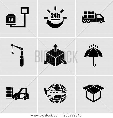 Set Of 9 Simple Editable Icons Such As Delivery Package Opened, Airplane Around Earth, Packages Tran