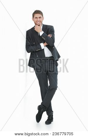 portrait of confident businessman,isolated on white.
