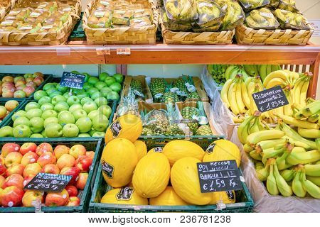 ROME, ITALY - CIRCA NOVEMBER 2017: fruits on display in a grocery store in Rome.