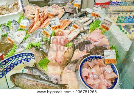ROME, ITALY - CIRCA NOVEMBER 2017: fresh fish on display in a grocery store in Rome.