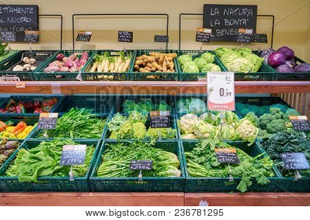 ROME, ITALY - CIRCA NOVEMBER 2017: vegetable on display in a grocery store in Rome.