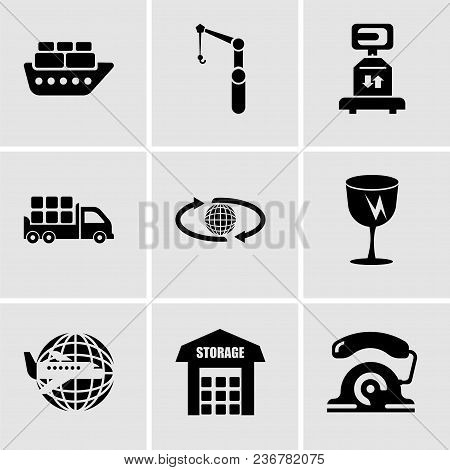 Set Of 9 Simple Editable Icons Such As Telephone, Storage, Airplane Around Earth, Fragile Broken Gla